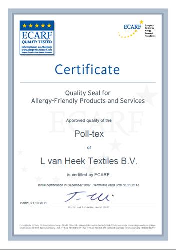 Сертификат на сетку от пыли Poll-Tex